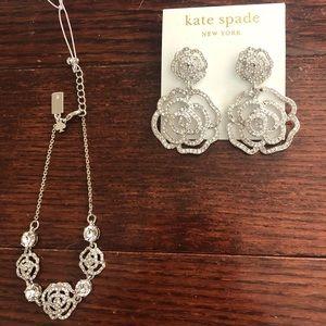 Kate Spade Crystal Rose Earrings & Bracelet